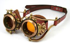 STEAMPUNK GOGGLES made of solid brass rusty brown leather gears decor Assault design no.2
