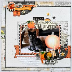 Happy Halloween Scrapbook Page by Jana Eubank using the Simple Stories Simple Vintage Halloween collection Scrapbook Sketches, Scrapbook Page Layouts, Scrapbook Cards, Scrapbooking Ideas, Photo Layouts, Card Sketches, Halloween Paper Crafts, Halloween Cards, Happy Halloween