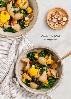 Shells and Roasted Cauliflower - Whole Grain Shells & Roasted Cauliflower - An easy, healthy, vegan pasta recipe. Gluten free option.