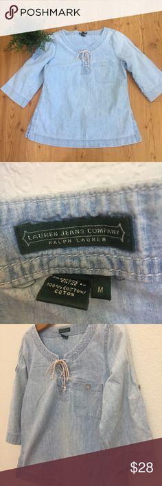 Ralph Laurent Tunic Denim Blouse Sz M Pre owned, Denim Tunic, Sz M, light Denim color,mid length sleeves, good condition, 100 % cotton, no stains or holes. Lauren Ralph Lauren Tops Tunics