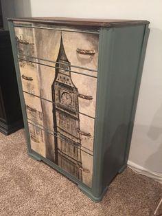 DIY dresser makeover idea for your thrift store find. This tall dresser becomes . DIY dresser makeover idea for your thrift store find. This tall dresser becomes … Solid Wood Dresser, Small Dresser, Old Dressers, Furniture Ads, Paint Furniture, Quality Furniture, Furniture Repair, Furniture Dolly, Metal Furniture
