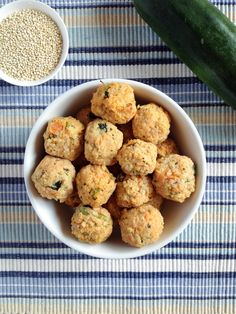 Salmon, Quinoa and Vegetable Balls - a lovely finger food for toddlers. Full of essential omega-3 fats for healthy brain development. Gluten free and dairy free.