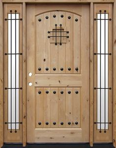 Discount Tall Rustic Knotty Alder Wood Door Unit with Sidelites Wood Entry Doors, Wood Exterior Door, Wooden Doors, Knotty Alder Doors, Cheap Interior Doors, Facade House, House Facades, Colorado Homes, New Living Room