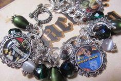 Classic Horror Movies  Altered Art Charm Bracelet   ooak ebsq, by Bostoncharm