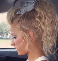 More cheer hair ideas! Dance Hairstyles, Ponytail Hairstyles, Pretty Hairstyles, Cute Cheer Hairstyles, Summer Hairstyles, Hair Dos, Your Hair, Cheer Makeup, Competition Hair