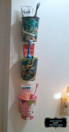 Love this idea for the boys bathroom. Kids Toothbrush & Bathroom Fix Do It Yourself Organization, Home Organization, Dollar Store Organization, Bathroom Kids, Bathroom Cleaning, Bathroom Wall, Kids Bathroom Storage, Organized Bathroom, Navy Bathroom