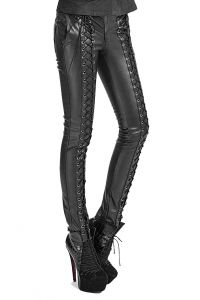 Punk Rave Cryptocracy Lace Up Leather Look Trousers