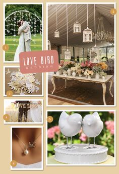 Celebrate the love birds with a love bird themed wedding! Incorporate  paper cranes as a ceremony backdrop or hang birdcages above tables during the ceremony.