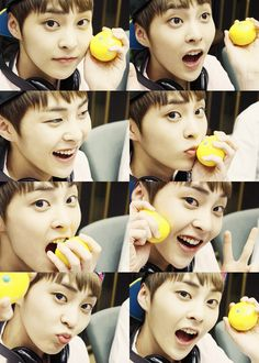 Xiumin how the fudge can you look asdfghjkl cute and handsome with a idk what it is in your hand *fangirl feels*