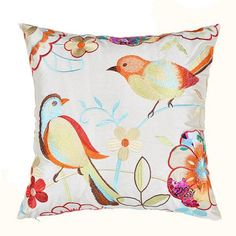 Bird embroidered decorative pillow pastoral style flower sofa cushion