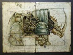 Steampunk animal artwork Les Machines by Vladimir Gvozdariki Design Steampunk, Chat Steampunk, Steampunk Drawing, Steampunk Kunst, Steampunk Fashion, Steampunk Illustration, Illustration Art, Steampunk Animals, Motifs Animal