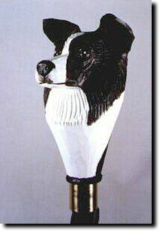 Border Collie Dog Walking Stick. The Border Collie Dog Walking Stick is a reproduction of an original woodcarving by Michael Park, a Master woodcarver, recognized worldwide for his detailed carvings and reproductions. Michael's passion and love for dogs are evident in his outstanding workmanship.