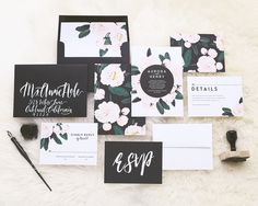 Floral Wedding Invitations by Rachel Marvin Creative | soft pink & black