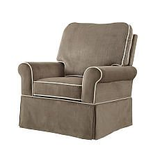 Bertini Peyton Swivel Glider - Umber with Vanilla Piping