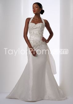 Attractive Sheath/Column Halter Sleeveless Court Train Embroidery Wedding Dresses