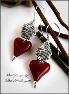 Wire wrapped earrings  Love  Red hearts
