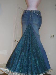 Belle Époque Émeraude jean skirt emerald lace bohemian mermaid goddess teal green rhinestone Renaissance Denim Couture via Etsy. Lace Jeans, Denim And Lace, Old Jeans, Purple Satin, Satin Tulle, Dark Purple, Denim Vintage, Vintage Lace, Denim Outfits