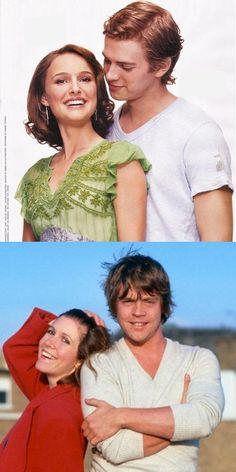 Padme and Anakin, Leia and Luke
