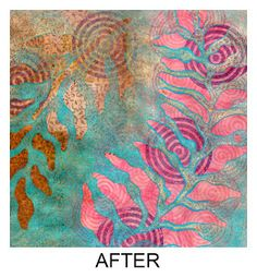 Printing with Gelli: Are We There Yet? Filling in with different colored mediums on a Gelli plate print...ink, stains, glazes...