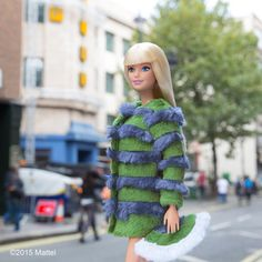 """""""Love to represent a hometown designer, this fabulous faux fur by @shrimps__ is fashionable and fun!  #lfw #barbie #barbiestyle"""""""