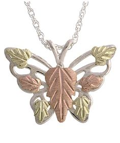 Black Hills Gold & Silver Butterfly Pendant Necklace