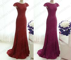 2014 mermaid sheath wine red sequin evening dress by Loveisdress, $149.00
