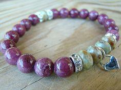 Stretch Bracelet  Purple Gemstone Green Czech by BeJeweledByCandi, $34.00