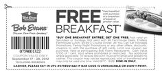 Second breakfast free at Bob Evans restaurants coupon via The Coupons App