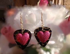 Sparkly Pink Heart Guitar Pick Earrings - Color Pick of Your Choice.