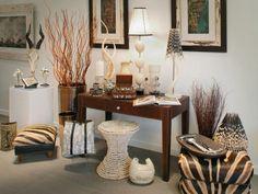 Dekor für zuhause im Safari-Look-echte Geweihe-getrocknete Gräser-geflochtene Stühle