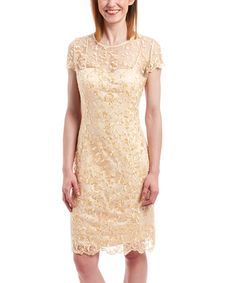Another great find on #zulily! Gold Lace Overlay Sheath Dress by Cathaya #zulilyfinds