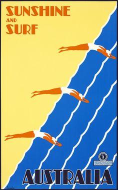 1930 Australia sunshine and surf vintage travel poster