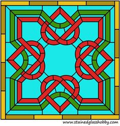 Square Celtic Design Stained Glass Panel