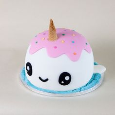 Cute Narwal cake (Btw I didn't make this)