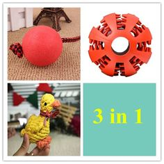 ECOOLBUY 3 In 1 Pet Toy Set Solid Rubber Dog Chew Training Ball   Pet Feed Light Toy Ball   Puppy Toy Duck For Pet Chew Toy Puppy Dog Clean Teeth Training Tool (3 in 1 Set) -- Continue to the product at the image link. (This is an affiliate link and I receive a commission for the sales)