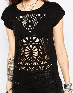 Image 3 of Rock & Religion Lazer Cut T-Shirt Lazer Cut, Laser Cutting, Laser Engraving, Knitwear, Religion, T Shirt, Short Sleeve Dresses, Gothic Steampunk, Couture