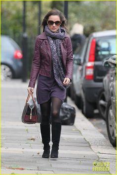 Pippa Middleton purple leather jacket