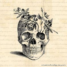 pretty sure this is my next tattoo love the anatomical skull probably more/different flowers though
