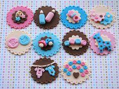 Toppers para cupcakes con temática de bebé