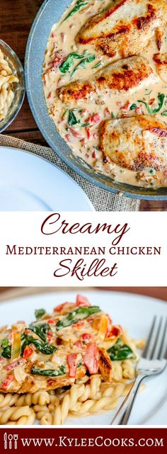 This Creamy Mediterranean Chicken Skillet with @ArlaUSA Cream Cheese is so delicious, you won't believe how easy and fast it is to cook. #Ad Perfect for weeknights, with flavors everyone will enjoy - you'll be fighting over the leftover sauce! #Sponsored #ArlaCreamCheese