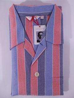 fa616a8b24 NWT DEREK ROSE pigiama uomo APERTO 100 FLANELLA cotone RIGHE A I tg S M XXL