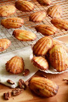 Bourbon Pecan Madeleines with Peach Glaze