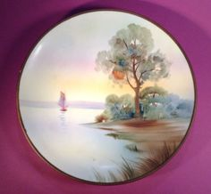 SOLD! NIPPON-Vintage-Hand-Painted-Sailboat-Plate