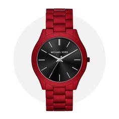 Michael Kors Slim Runway Red Mk8712 Stainless Steel Bracelet, Michael Kors Watch, Runway, Quartz, Slim, Watches, Band, Silver, Accessories