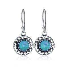 Round 925 Sterling Silver Earrings with Created Blue Fire Opal and Filigree…
