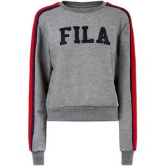 c01f1ecd62e4e Fila Alanis Logo Sweatshirt ($86) ❤ liked on Polyvore featuring tops,  hoodies, sweatshirts, striped sweatshirt, crop top, two tone sweatshirt,  sleeve top ...