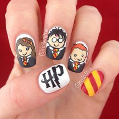 58 Harry Potter Nail Art Ideas That Are Pure Magic - Nails 💅 Harry Potter Nail Art, Harry Potter Make-up, Harry Potter Nails Designs, Cute Nail Art, Cute Acrylic Nails, Nail Art Diy, Food Nail Art, Nailart Rose, Us Nails