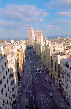 The Gran Via, seen from Callao to the Plaza of Spain, Madrid, Spain