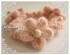 フランス*かわいいリリアン編みのお花の毛糸シュシュ*アルパカ混モヘア