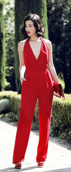 Red jumpsuit plunge neckline #UNIQUE_WOMENS_FASHION